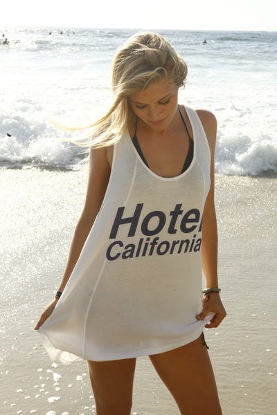 """Hotel California"" Racerback Tank in Sand by Ash Francomb"