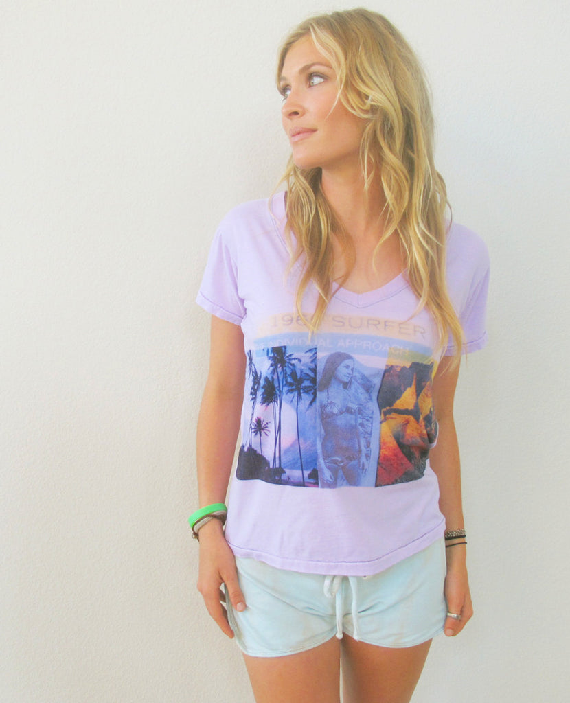 """Na Pali"" Orchid V-Neck Tee by Ash Francomb"