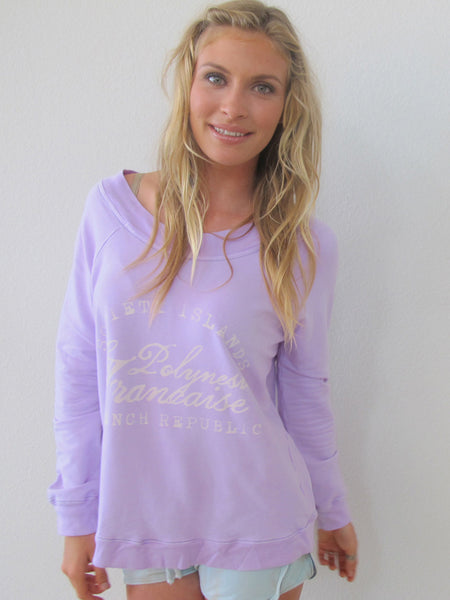 """Polynesia Francais"" Crew Neck Sweatshirt in Orchid by Ash Francomb"