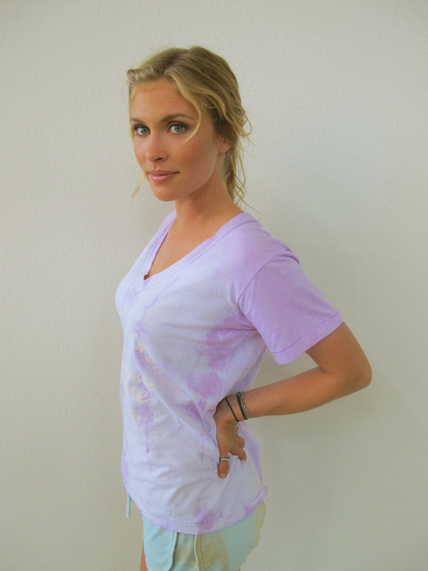 """Polynesia Francais"" V-Neck T-shirt by Ash Francomb shown in Orchid"