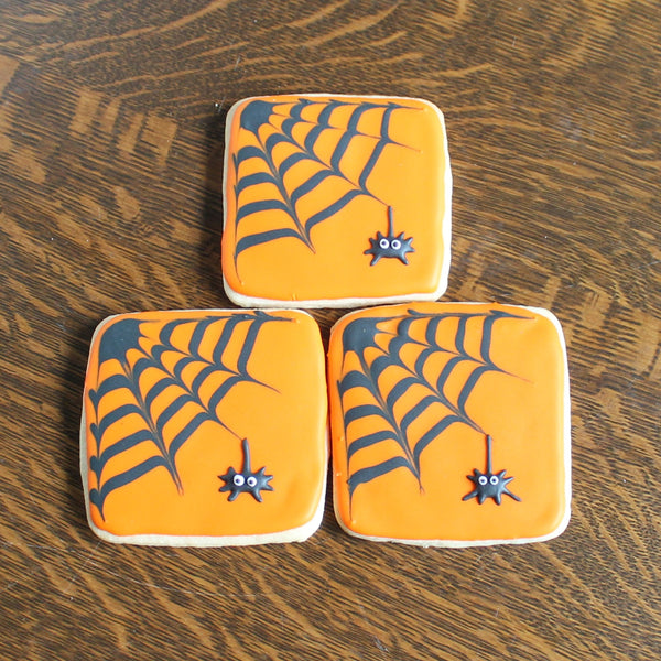 Orange Spider Web Sugar Cookies