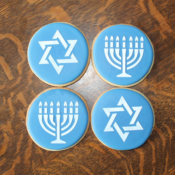 Blue and White Hanukah Gelt Cookies