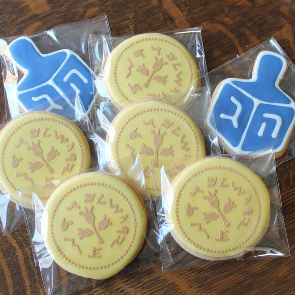 Dreidel and Gelt Sugar Cookies