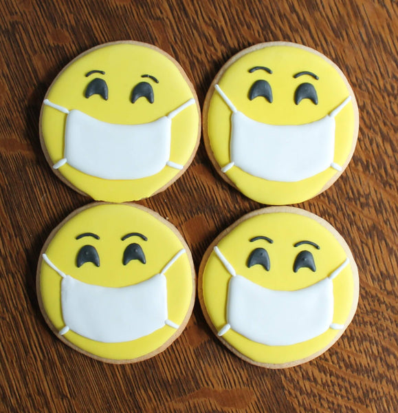 White Smiley Face Mask Cookies