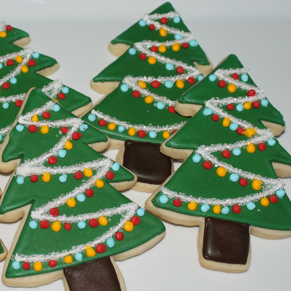 Decorated Tree Sugar Cookies