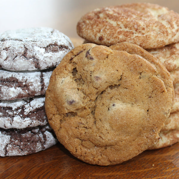 Snickerdoodle, Chocolate Chip and Chocolate Crackle Cookies