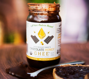 Open jar of Chocolate Honey Ghee sold by Gold Nugget Ghee