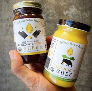 Jar of Chocolate Honey Ghee and Jar of Original Ghee