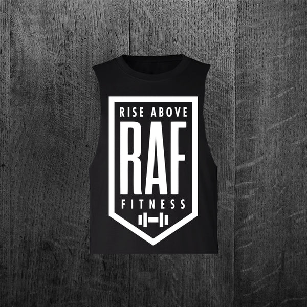 """CLASSIC RAF BADGE"" Women's Custom Cut Crop Muscle Tee"