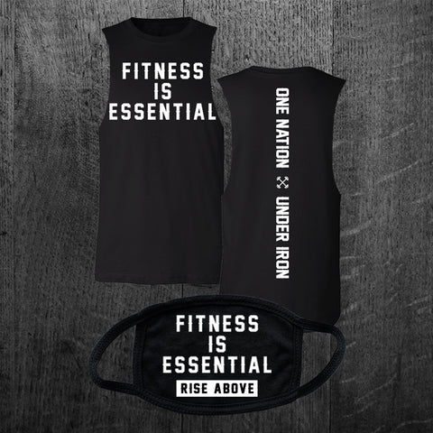 """FITNESS IS ESSENTIAL"" Custom Cut Muscle Tee & Mask - PRE ORDER"