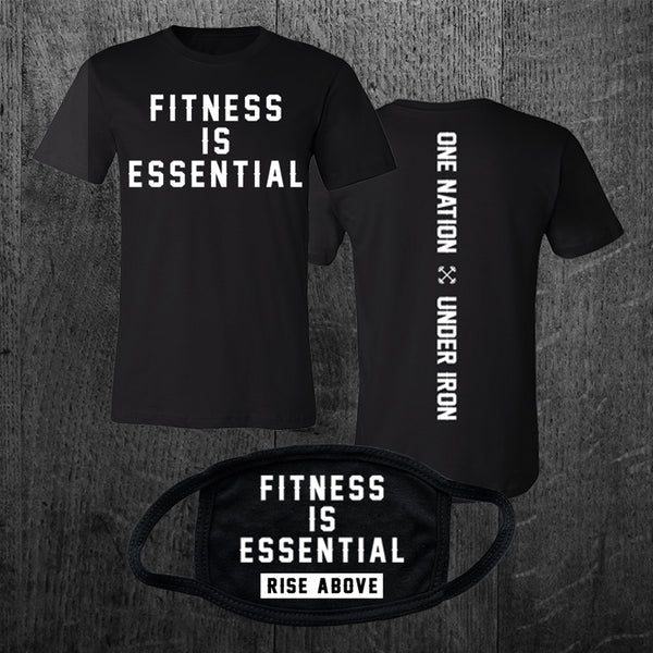 """FITNESS IS ESSENTIAL"" Tee & Mask Combo - PRE ORDER"