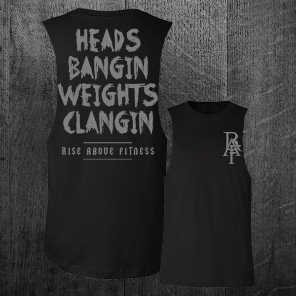 """HEADS BANGIN"" Custom Cut Muscle Tee"
