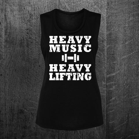 """HEAVY MUSIC HEAVY LIFTING"" Muscle Tee"