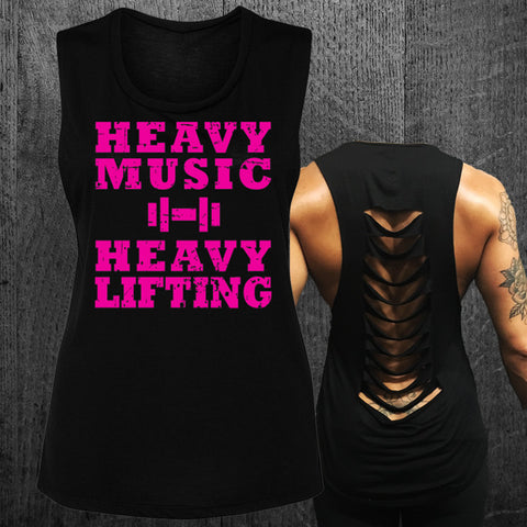 "Limited ""HEAVY MUSIC HEAVY LIFTING"" Grunge Muscle Tee"