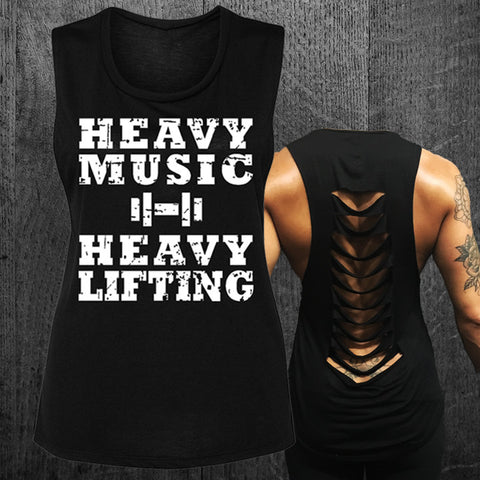 """HEAVY MUSIC HEAVY LIFTING"" Grunge Muscle Tee"