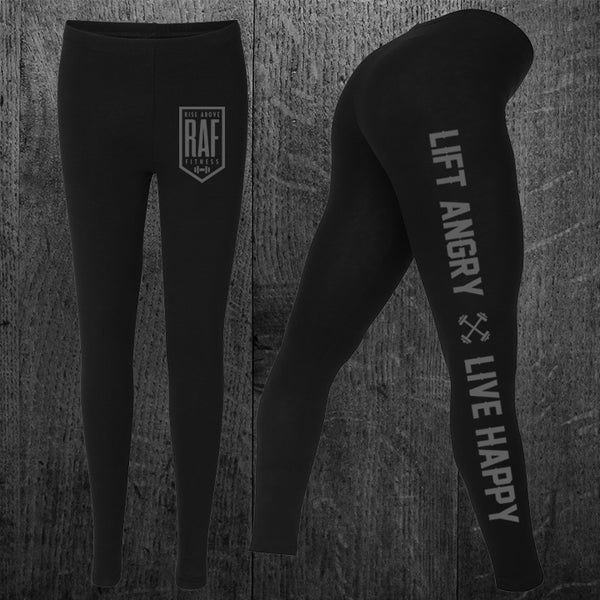 """LIFT ANGRY LIVE HAPPY"" Performance Leggings"