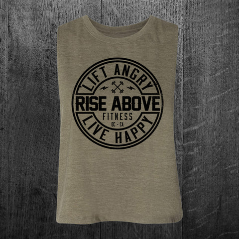 """STILL ANGRY"" Crop Racerback Tank"