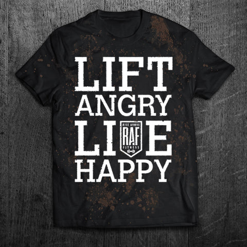 """LIFT ANGRY LIVE HAPPY"" Grunge Tee"