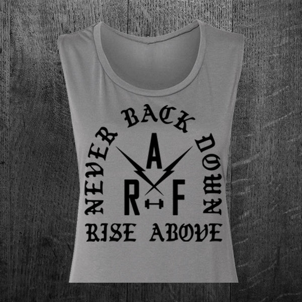 """NEVER BACK DOWN"" Women's Custom Cut Crop Muscle Tee"