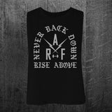"""NEVER BACK DOWN"" Women's Crop Racerback Tank"