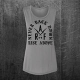 """NEVER BACK DOWN"" Women's Muscle Tee"