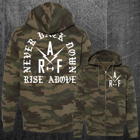 """NEVER BACK DOWN"" Zip Hoodie"