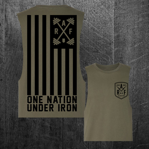 """ONE NATION UNDER IRON"" Women's Custom Cut Crop Muscle Tee"