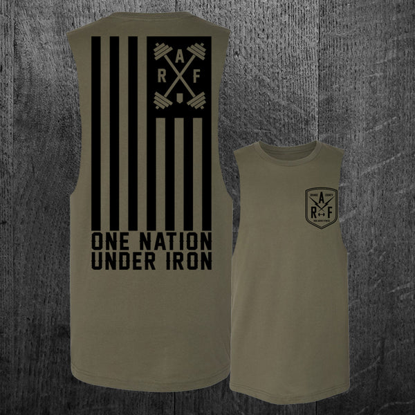 """ONE NATION UNDER IRON"" Custom Cut Muscle Tee"