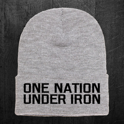 """ONE NATION UNDER IRON"" Flip Beanie"