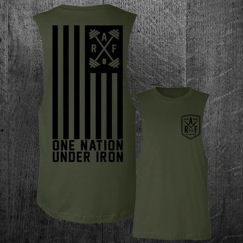 """ONE NATION UNDER IRON"" Custom Cut Men's Muscle Tee"
