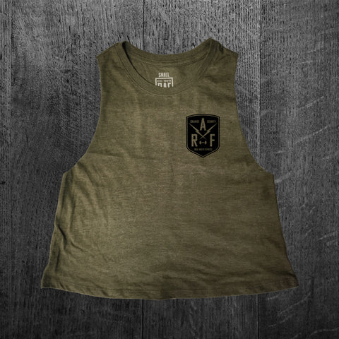 """RAF SHIELD"" Crop Racerback Tank"