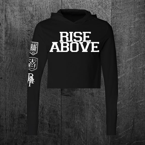 """RISE ABOVE VARSITY"" Custom Cut Crop Hooded Tee"