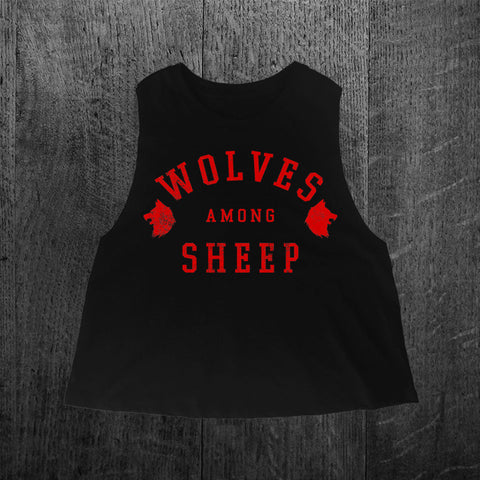 """WOLVES AMONG SHEEP"" Crop Racerback Tank"