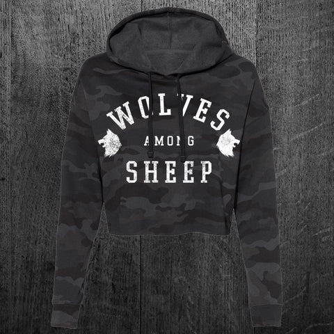 """WOLVES AMONG SHEEP"" Women's Crop Hoodie"