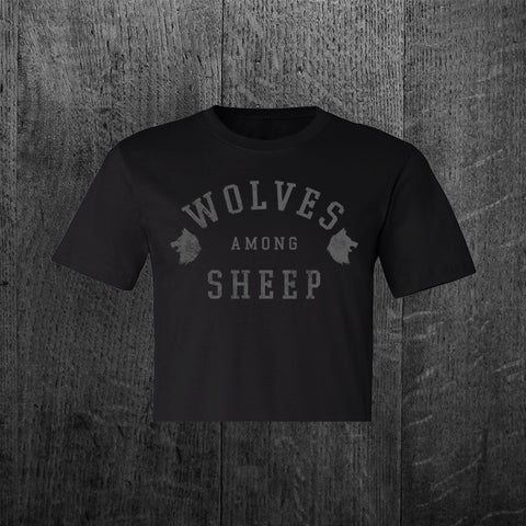 """WOLVES AMONG SHEEP"" Women's Custom Cut Crop Tee"