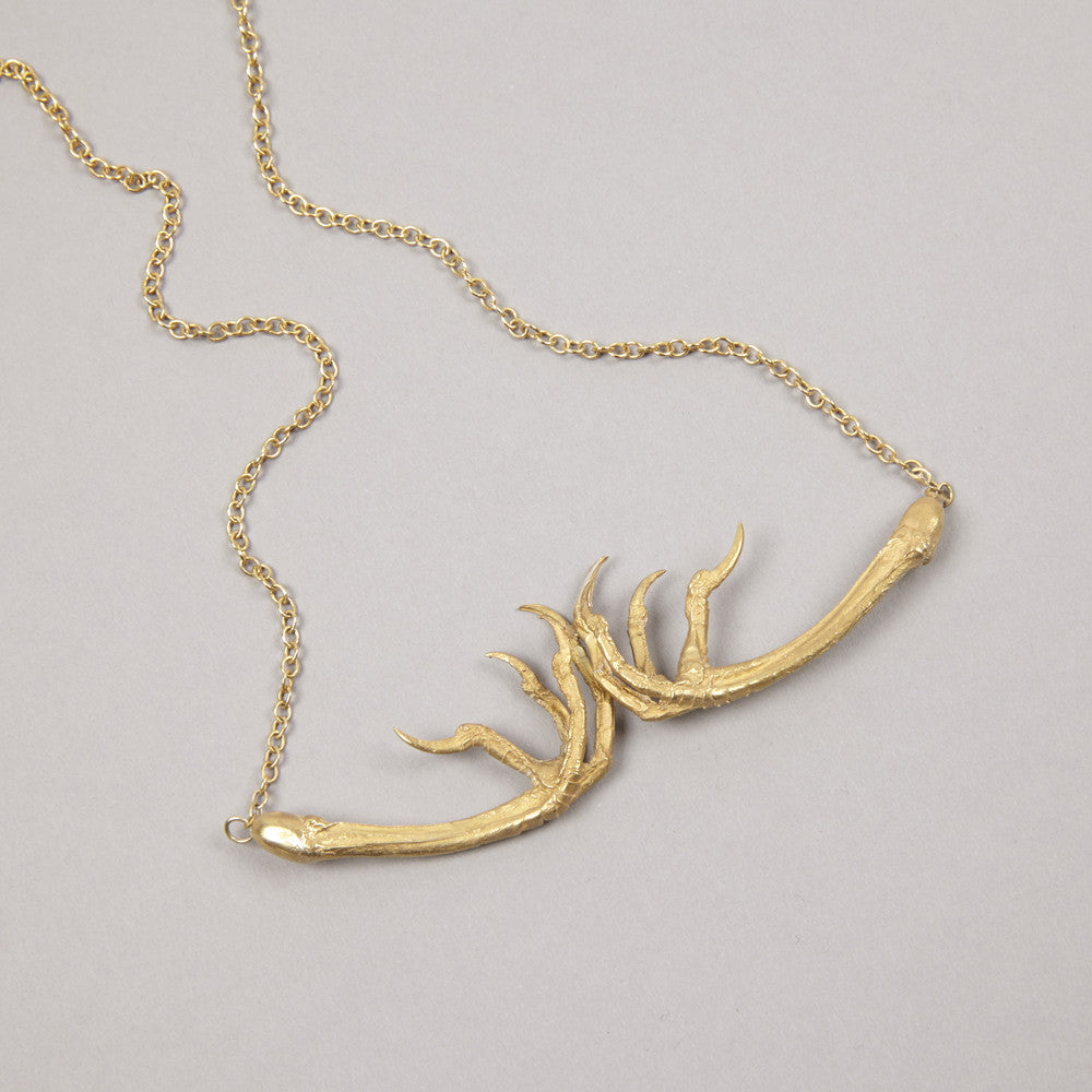 Gold Double Song Thrush Claw Necklace