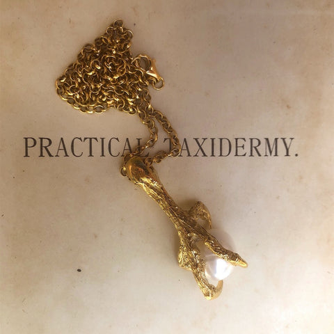 Gold Spotted Owlet Pearl and Claw Necklace