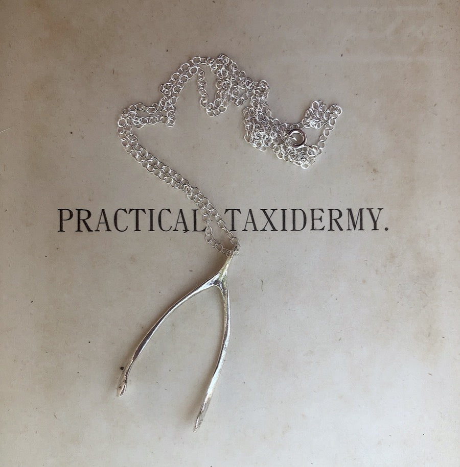 Silver Partridge Wishbone Necklace