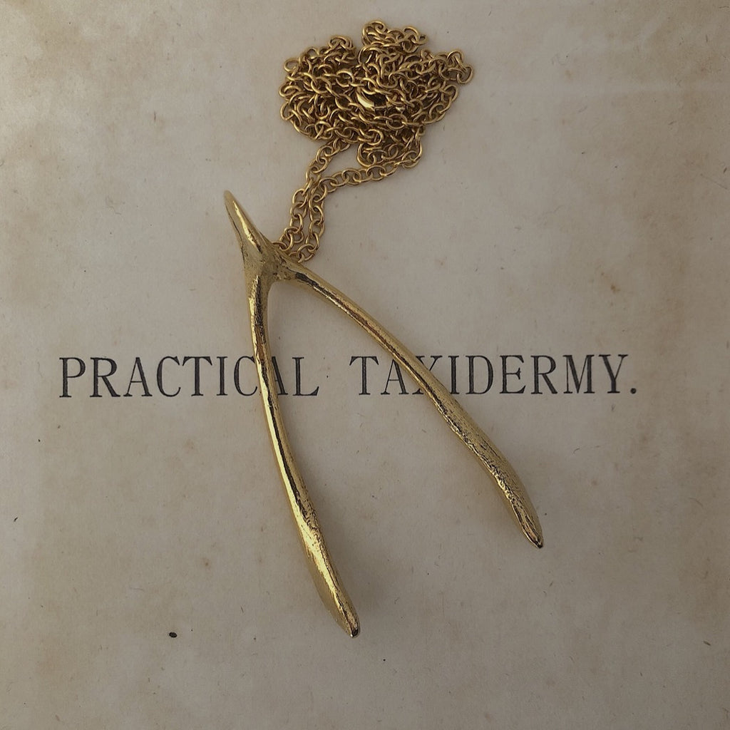 Gold Chicken Wishbone Necklace
