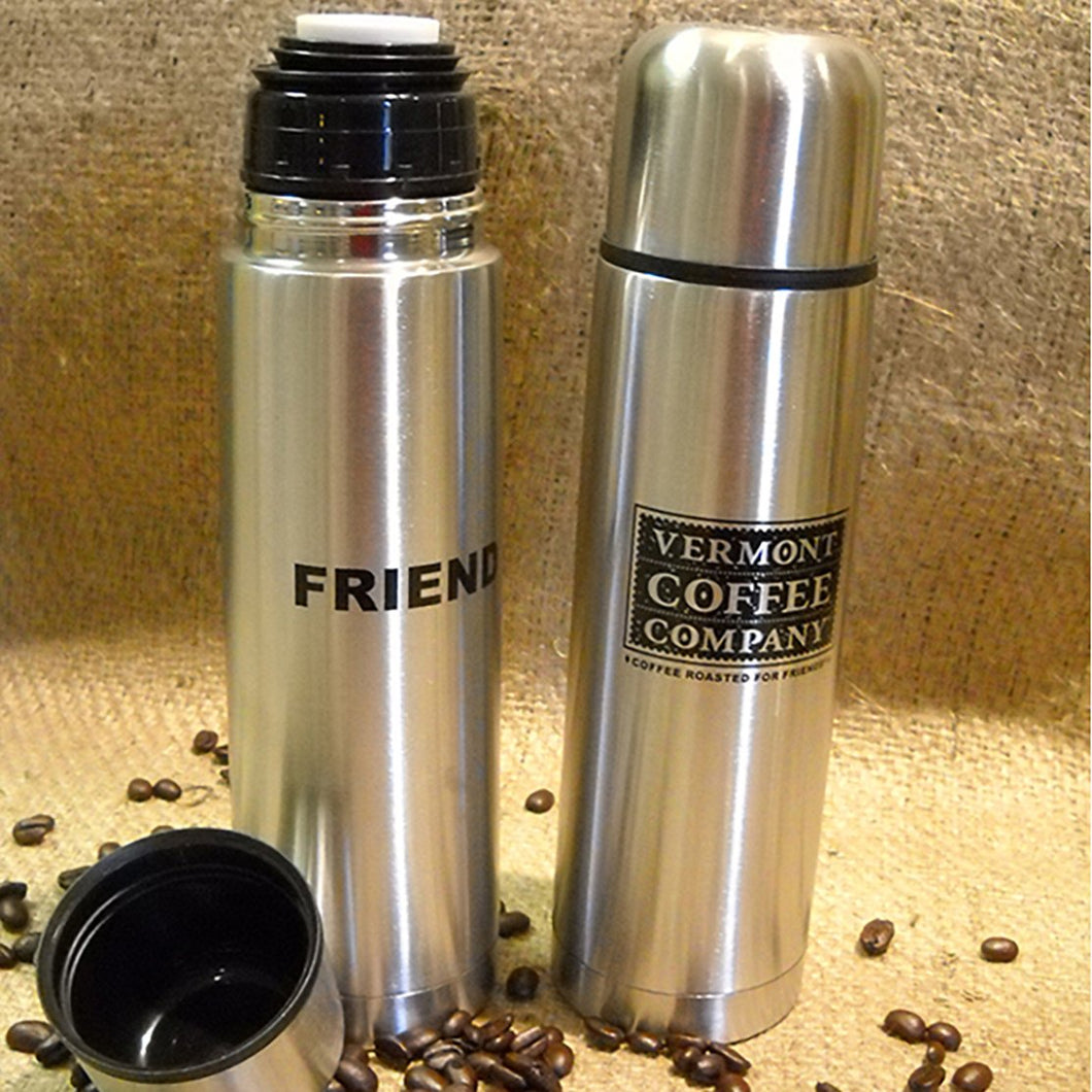 stainless steel 16oz thermos with logo and FRIEND in black ink