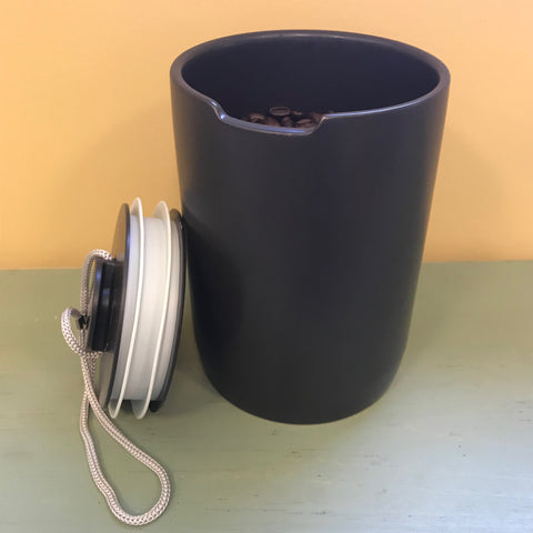 black ceramic canister with airlock lid