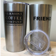 20oz stainless steel travel mug with logo and FRIEND printed in black
