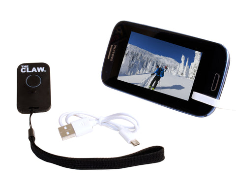 The CLAW-  Rechargeable USB remote and mini stand from Record Peak Designs Inc.