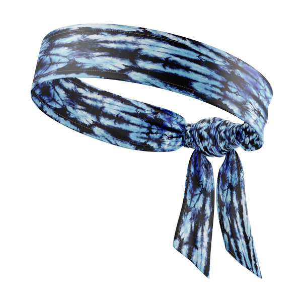 RAVEbandz The All Star Tie Back Headbands (Blue/Black Tie Dye)