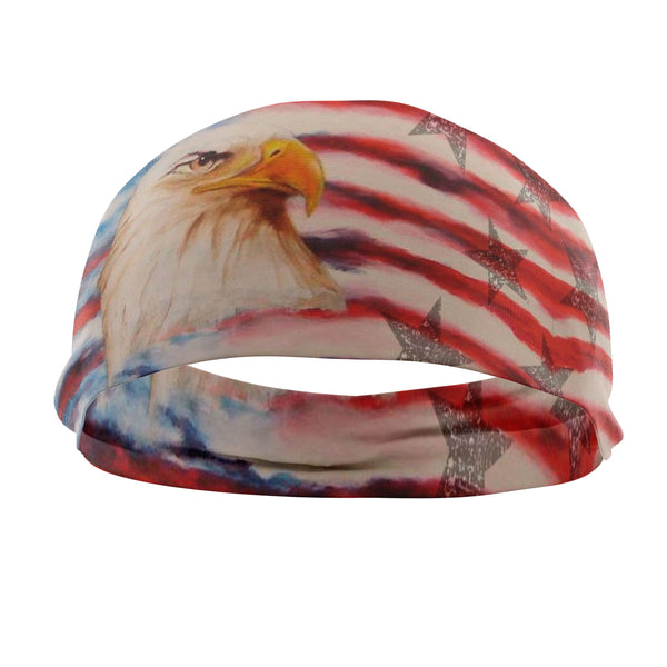 RAVEbandz The Pro - Wide Stretch Headband (Old Glory)