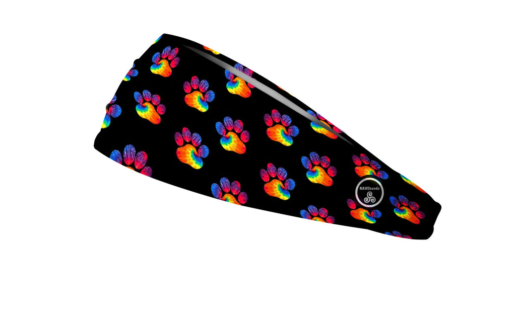 RAVEbandz The Pro - Wide Stretch Headband (Tie Dye Paw Prints)