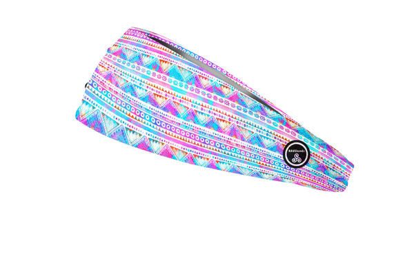 RAVEbandz The Pro - Wide Stretch Headband (Watercolor Tribal)