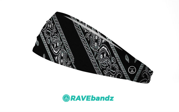 RAVEbandz The Pro - Wide Stretch Headband (Black Bandana)