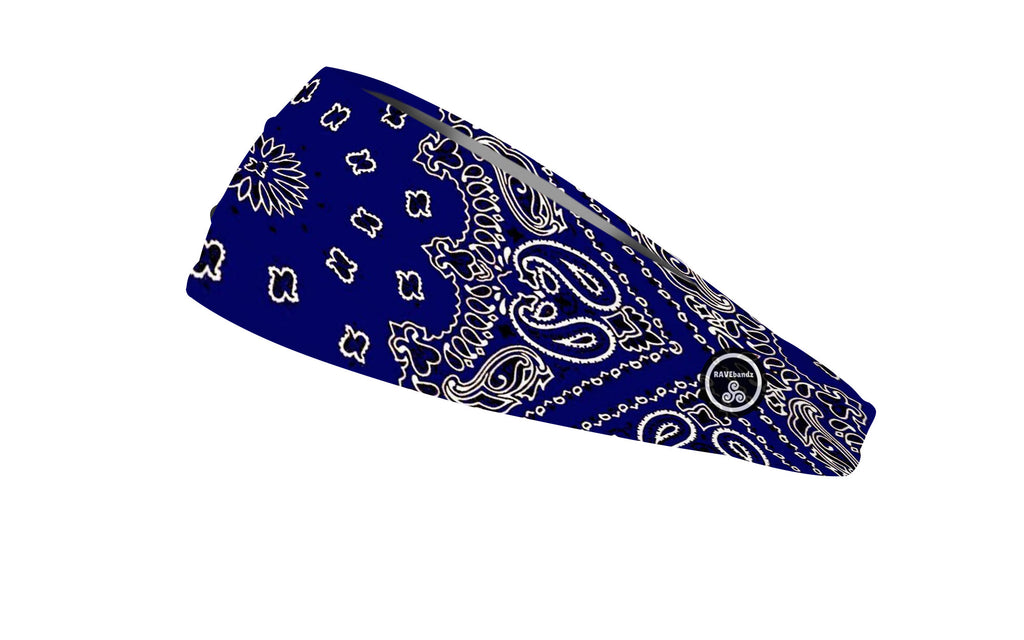 RAVEbandz The Pro - Wide Stretch Headband (Blue Bandana)