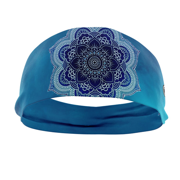 RAVEbandz The Pro - Wide Stretch Headband (Blue Mandala)